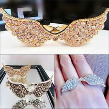 Sterling Silver /Gold Plated Cubic Zircon Bead Wing Charms Double Finger Rings