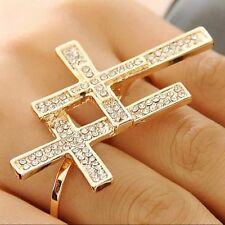 Sterling Silver /Gold Plated Cubic Zircon Bead Cross Charms Double Finger Rings