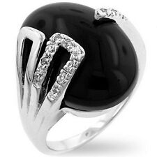 Silver Onyx Deco Cocktail Ring Oval Pave Jet Black Cubic Zirconia Size 9 10 USA