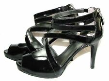"NEW GUESS PATENT BLACK WITH ZIPPER PEEP TOE SHOES PUMPS,4"" HEELS SIZE 7 AND 10"