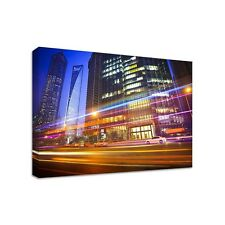 Cityscape at Night - Framed Canvas Art Print - Cityscape LA Art - Many Sizes