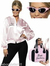 Smiffys Official Grease Pink Ladies Jacket Fancy Dress Hen Night Costume Outfit