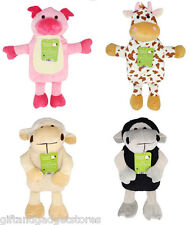 Childrens Hot Water Bottle Pig Cow  Sheep Lamb Animal Hottie Plush Cover  Kids