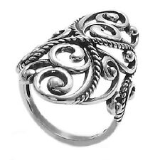 925 Sterling Silver Intricate Rope & Swirl Design Ring Size 5-10