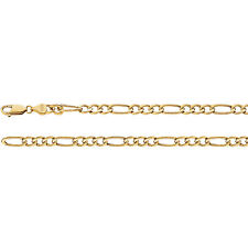 "14K Yellow Gold Figaro 5.35mm Link Necklace 16"" 18"" 20"" 24"" inch"