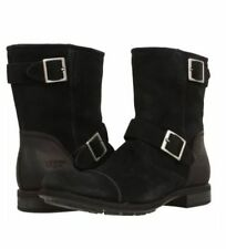 NIB NEW UTHENTIC UGG  M.LANCING BLACK VINTAGE DISTRESSED SUEDE BUCKLE BOOTS