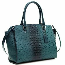Dasein Faux Ostrich Leather Winged Satchel with Patent Trim
