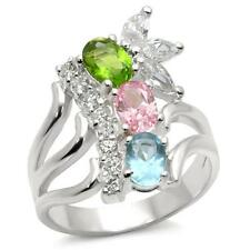 Silver Flower Cocktail Ring Blue Pink Cubic Zirconia Sterling 925 Size 8 9 10