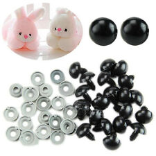 100x Black Plastic Safety Eyes For Teddy Bear/Dolls/Toy Animal/Felting 6-20mm V