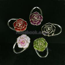 Stunning Flower Rose Shape Folding Purse Handbag Hanger Hook Bag Holder Gift