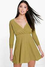 Boohoo Womens Eva Long Sleeve Wrap Front Skater Dress