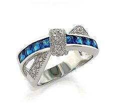 Silver Sapphire Cocktail Ring Criss Cross Aqua Blue Cubic Zirconia Size10 11 USA