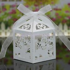 10Pcs Wedding Party Favors Candy Boxes Gift Paper Case Baby Shower Boxes+Ribbons