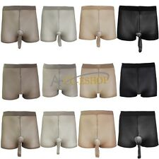 Mens Sexy Stretchy Women Sheer See Through Thin Pantyhose Underwear Boxer Shorts