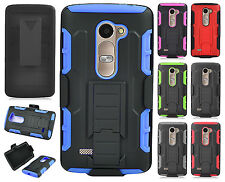 For LG Destiny L21G COMBO Belt Clip Holster Case Phone Kick Stand Cover