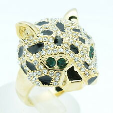 Animal Leopard Panther Cocktail Ring Size 6,7,8,9# Rhinestone Crystals 09184