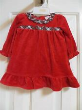NWT Chaps Red Velour Holiday Dress with Plaid Trim 6 mo 12 mo
