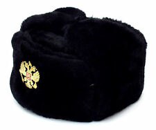 Authentic Russian Military Black Ushanka Hat Soviet Imperial Eagle Badge