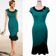 OL Peter Pan Collar Cinched Waist Women's Bodycon Pencil Dress Decorated Buttons