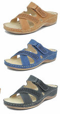 Womens Ladies Leather Lined Open Toe Adjustable Velcro Comfort Mules Sandals 3-8