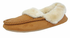 Womens Ladies Cosies Micro Suede Fluffy Fur Moccasin Shoe Slippers TAN 3-8