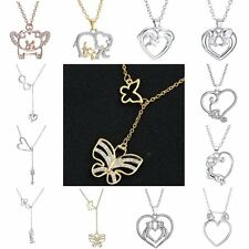 Mother's Day Silver/Gold Elephant Dolphin Crystal Rhinestone Pendant Necklace