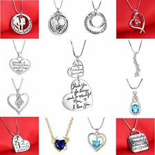 Mother's Day Silver/Gold Heart Love Letter Cross Crystal Pendant Chain Necklace