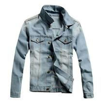 New Vintage Mens Denim Jacket Vintage Jean Coat Outwear Slim Frayed Motorcycles