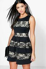 Boohoo Womens Madeleine Contrast Lace Skater Dress