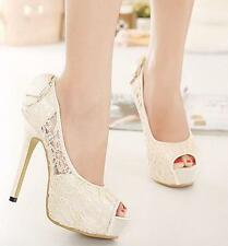 Chic Lace Womens Wedding Bride Shoes Bowknot Peep Toe Platform High Heel Sandals