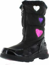 NWT Totes Girls Heartful Winter Boot/Black FRONT ZIPPER SLIP ON