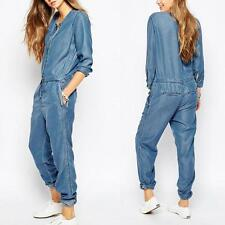 Womens Denim Jeans Casual Long Sleeve Overall Loose Pants Jumpsuit Chic Rompers