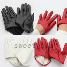 Unisex Faux Leather Women's Men's Five Finger Half Palm Gloves Mittens Cosplay