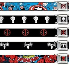 "Seat Belt Buckle 1.5"" x 24-38"" Marvel Comics Punisher Deadpool Hulk Spider Man"