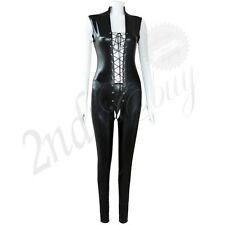 Sexy Women Body Slim Lace Up PVC Open Crotch Catsuit Wet Look Bodysuit Jumpsuit