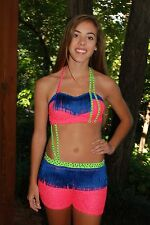 Vibrant fringe multi color  custom  competition dance costume  CL, AXS, AS