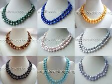 2 strands baroque genuine cultured freshwater pearl necklace 8-9mm s925 clasp