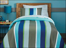 5 / 7 pc Circo Reversible COMFORTER & SHEET Set - RUGBY Stripe BLUE Green Gray