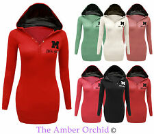 New Ladies Plain Miss Sexy Sweatshirt Womens Hoodie Hooded Jumper Top Sizes 8-14