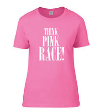Pink printed race for life t-shirt S-2XL Lady fit cotton top Think Pink Race