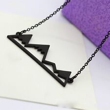 Silver/Black/Gold Mountain Hollow Out Pendant Necklace Choker Women Lady Gifts