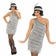 Ladies Silver Flapper Fancy Dress Cosume Gatsby 20S Charleston Outfit UK 8-30