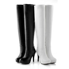 Ladies' Shoes Synthetic Leather Platform High Heels Zip Knee Boots AU Size b076