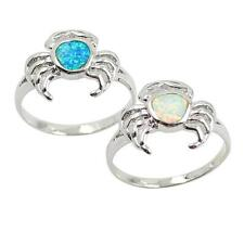 LOVELY CRAB STYLE Blue/White Fire Opal 925Sterling Silver Ring Size 6/7/8/9 Q3Q4