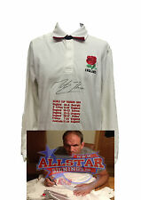 MARTIN JOHNSON SIGNED ENGLAND RUGBY SHIRT WITH WORLD CUP EMBROIDERY COA & PROOF