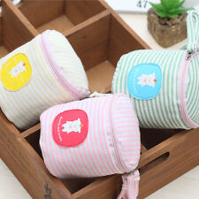 Canvas Striped Cute Sheep Cylindrical Coin Bag Purse Make up Bag Change Wallet