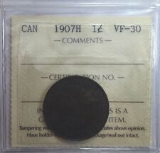1907H Canadian One Large Cent Coin ICCS Graded VF-30