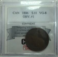 1886 Canadian One Large Cent Coin Mart Graded VG-8 Obverse 1
