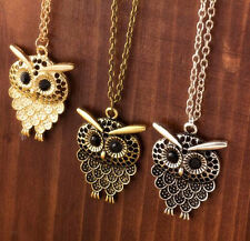 Women Vintage Cute Bronze Owl Pendant Long Sweater Chain Necklace Jewelry Gift