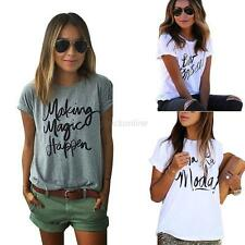 Sexy Women Crew Neck Casual T-Shirt Short Sleeve Tops Loose Letter Print Blouses